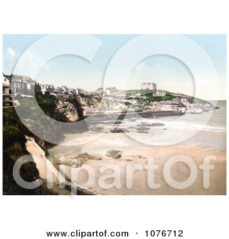 Historical Buildings on the Cliffs Above the Beach in Newquay, Cornwall, England, United Kingdom - Royalty Free Stock Photography  by JVPD