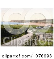 Historical Buildings On The Polzeath Bay In Cornwall England United Kindom Royalty Free Stock Photography
