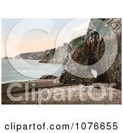Historical Cave Through The Rocks On The Beach Of Dixcart Bay In Sark England Royalty Free Stock Photography