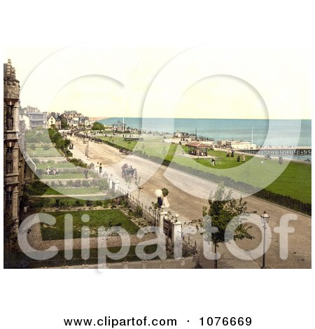 Historical Coastal Buildings, Lawns and Street at Clacton-on-Sea, Essex, England - Royalty Free Stock Photography  by JVPD