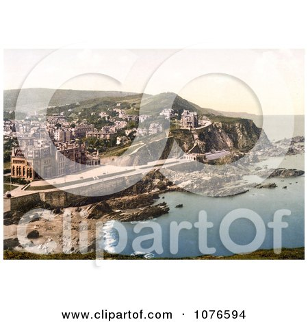Historical Coastal Hotels and Town of Ilfracombe in Devon England - Royalty Free Stock Photography  by JVPD