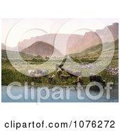 Historical Cows Drinking From A Lake Near A Green Pasture And Mountains In England Royalty Free Stock Photography