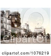 Historical Horse Drawn Carriages On A Street Near Hotels In Ryde Isle Of Wight England UK Royalty Free Stock Photography by JVPD