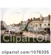 Historical Horses Pulling Loads On High Street In Battle Rother East Sussex England UK Royalty Free Stock Photography by JVPD