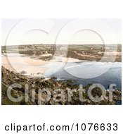 Historical Hotels On The Coastal Cliffs Over The Beach At Trevone Cornwall England UK Royalty Free Stock Photography by JVPD