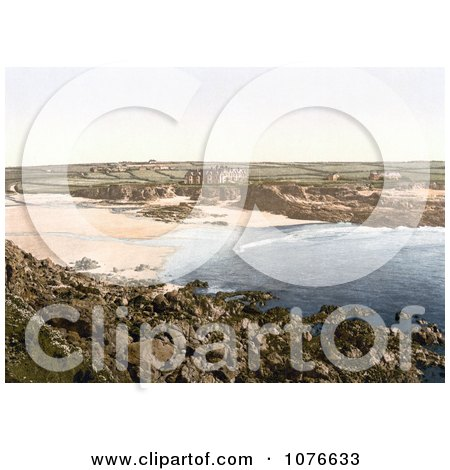 Historical Hotels on the Coastal Cliffs Over the Beach at Trevone Cornwall England UK - Royalty Free Stock Photography  by JVPD