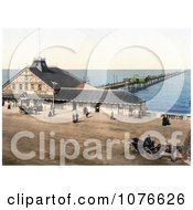 Historical Pedestrians And Carriages By The Pier In Herne Bay Kent England Royalty Free Stock Photography