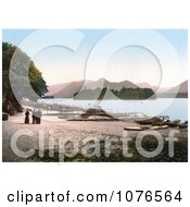 Historical People At The Boat Landing On The Shore Of Derwent Water Lake District England Royalty Free Stock Photography