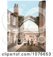Historical People At York Gate Over Harbour Street Broadstairs Kent England UK Royalty Free Stock Photography