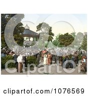 Historical People Enjoying Band Playing Music In A Gazebo In The Harrogate Valley Gardens North Yorkshire England Royalty Free Stock Photography
