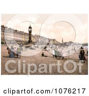 Historical People Enjoying The Beach By The Jubilee Clock Tower In Weymouth Dorset England UK Royalty Free Stock Photography