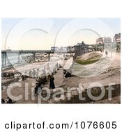 Historical People Enjoying The Nice Weather On The Coastal Promenade In Hunstanton Norfolk England Royalty Free Stock Photography