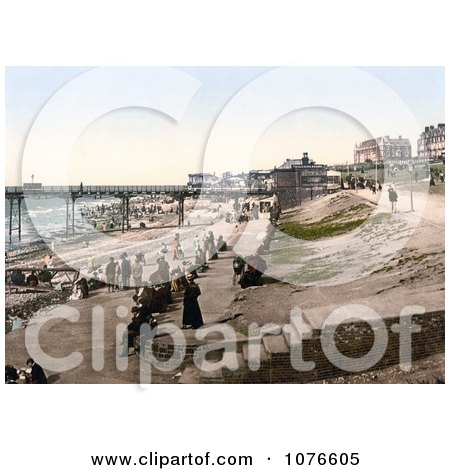 Historical People Enjoying the Nice Weather on the Coastal Promenade in Hunstanton, Norfolk, England - Royalty Free Stock Photography  by JVPD