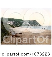 Historical People On The Beach In Runswick Whitby North Yorkshire England UK Royalty Free Stock Photography