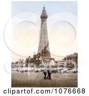 Historical People Strolling On The Beach Near The Blackpool Tower In Blackpool Lancashire England Royalty Free Stock Photography
