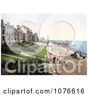 Historical People Strolling The Beachfront Promenade In Herne Bay Kent England Royalty Free Stock Photography