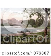 Historical Person In A Boat On Derwent Water Broomhill Point Lake District England Royalty Free Stock Photography