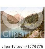 Historical Photochrome Dirt Road And Forest On The Shore Plansee Lake In Tyrol Austria Royalty Free Stock Photography