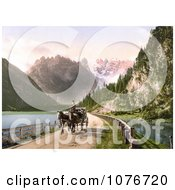 Historical Photochrome Horse Drawn Carriage Near The Monte Cristallo And Mont Popena Ampezzostrasse With Durrensee Tyrol Austria Royalty Free Stock Photography by JVPD