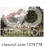 Historical Photochrome Hotel Building Near Schluderbach And Croda Pass Croda Rosa Dolomites Tyrol Austria Royalty Free Stock Photography