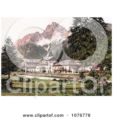Historical Photochrome Hotel Building Near Schluderbach and Croda Pass, Croda Rosa, Dolomites, Tyrol, Austria - Royalty Free Stock Photography  by JVPD