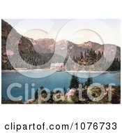 Historical Photochrome Hotel Building On Wildsee Lake Pragser Tyrol Austria Royalty Free Stock Photography by JVPD