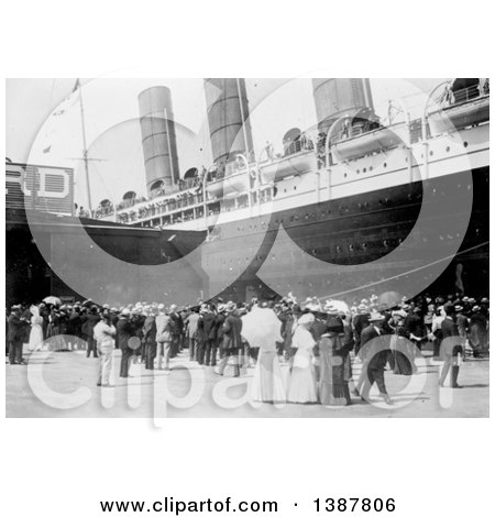 Historical Photograph of a Crowd of People Watching As the RMS Lusitania Arrives in New York City with a View of the Starboard Side at the Dock, 1907 by JVPD