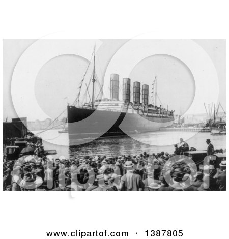 Historical Photograph of a Crowd Viewing the Lusitania As It Docks in the New York Harbor, September 13th 1907 by JVPD