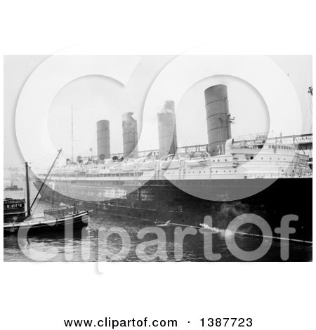 Historical Photograph of a Smaller Ship Alongside the Lusitania by JVPD