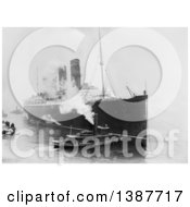 Historical Photograph Of A Tugboat Against The Hull Of The Lusitania Baseball Men On Dock Watching Person Standing On The Very Tip Of The Ship March 6th 1914