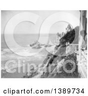 Historical Photograph Of Black And White Cliff House And Seal Rocks San Francisco 1905 With A Man Looking Out Over The Cliff by JVPD