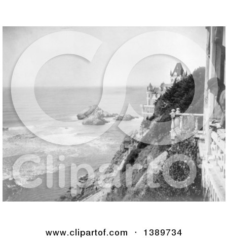Historical Photograph of Black and White Cliff House and Seal Rocks, San Francisco, 1905 with a Man Looking out over the Cliff by JVPD