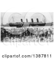 Historical Photograph Of The Broadside Of The Lusitania Being Viewed By A Crowd Of People In The New York Harbor 1907
