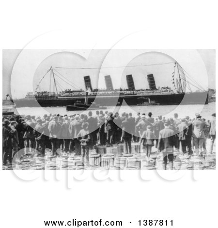 Historical Photograph of the Broadside of the Lusitania Being Viewed by a Crowd of People in the New York Harbor, 1907 by JVPD