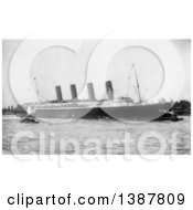 Historical Photograph Of Tugboats And The RMS Lusitania Arriving In New York City September 13th 1907