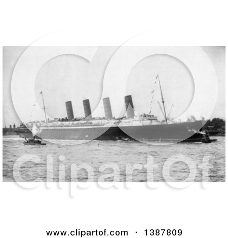 Historical Photograph of Tugboats and the RMS Lusitania Arriving in New York City, September 13th 1907 by JVPD
