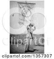 Historical Picture Of Susan B Anthony Holding Up A Failure Is Impossible Votes For Women Flag Royalty Free Photograph by JVPD