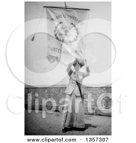 Historical Picture of Susan B Anthony Holding up a Failure Is Impossible Votes for Women Flag - Royalty Free Photograph by JVPD