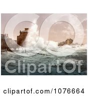 Historical Rough Sea Waves From A Storm Crashing Up Against Seafront Buildings Bognor England Royalty Free Stock Photography