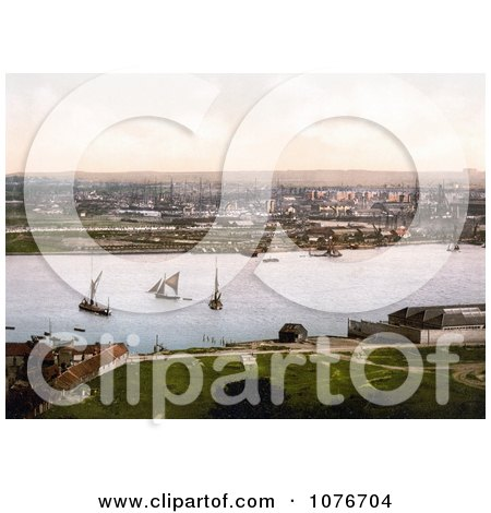 Historical Sailboats and Steamships at the Dockyard on the River Medway in Chatham, Kent, England, UK - Royalty Free Stock Photography  by JVPD