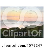 Historical Sheep On A Cliff Above A Lake At Sunset In England Royalty Free Stock Photography