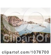 Historical Ships Down Below In The Creux Harbor In Sark Channel Islands England Royalty Free Stock Photography