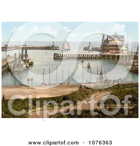 Historical Steamer and Sailboats in the Harbour of Lowestoft Waveney Suffolk East Anglia England UK - Royalty Free Stock Photography  by JVPD