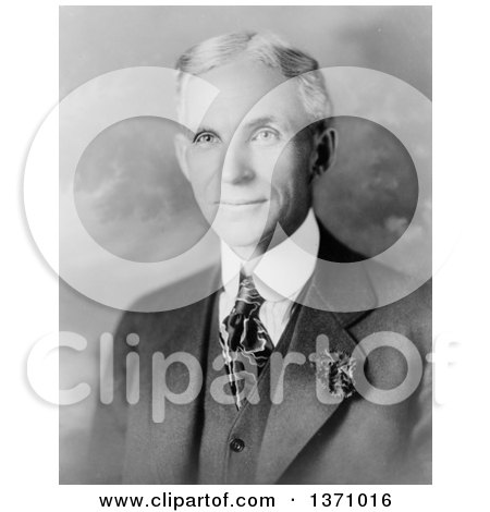 Historical Stock Photo of a Black and White Portrait of Henry Ford in Suit by JVPD