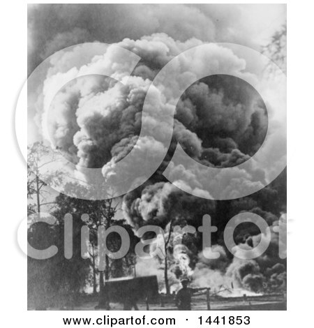 Historical Stock Photo of a Large Oil Gusher by JVPD