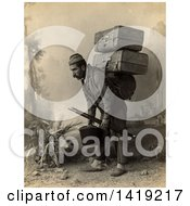 Historical Stock Photo Of A Turkish Porter Man Carrying Luggage On His Back Sepia Tone C 1880 1900 by JVPD