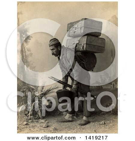 Historical Stock Photo of a Turkish Porter Man Carrying Luggage on His Back, Sepia Tone, C 1880-1900 by JVPD
