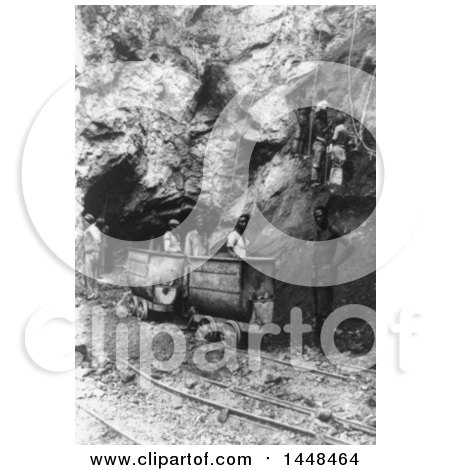 Historical Stock Photo of Diamond miners at the bottom of a great shaft at the Wesselton Mines, Kimberley, South Africa, 1911 by JVPD