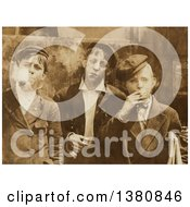 Historical Stock Photo Of Three Newsie Boys Smoking In Sepia Tone St Louis 1910 Royalty Free Vector Illustration