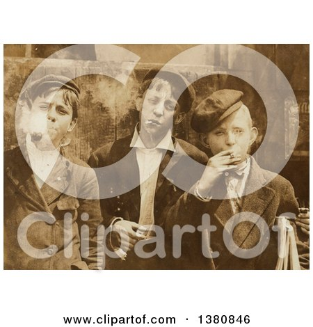 Historical Stock Photo of Three Newsie Boys Smoking in Sepia Tone, St Louis, 1910 - Royalty Free Vector Illustration by JVPD